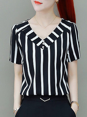 V Neck Vertical Striped Short Sleeve Blouse, 11268978