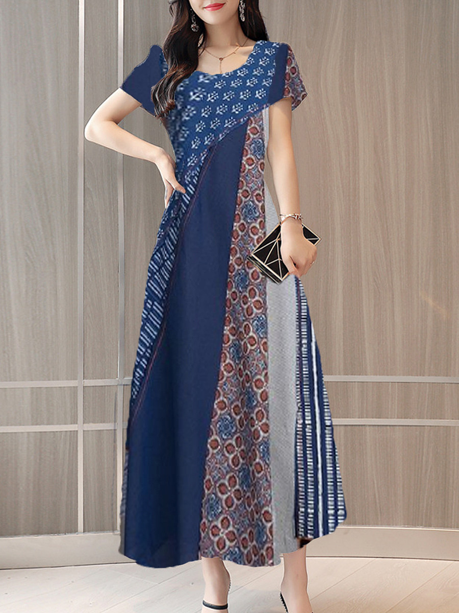 BerryLook Round Neck Printed Maxi Dress