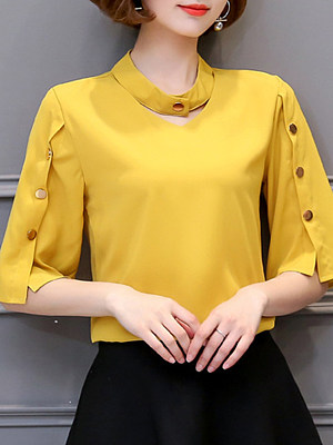 V Neck Plain Buttons Bell Sleeve Blouse, 11297277