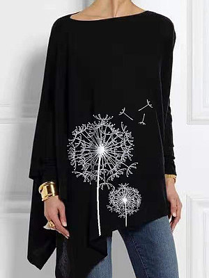 Round Neck Casual Loose Fitting Long Sleeve T-Shirt фото