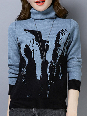 Heap Collar Casual Printed Long Sleeve Knit Pullover