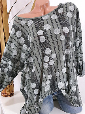 Round Neck Printed Long Sleeve T-Shirt, 10731959