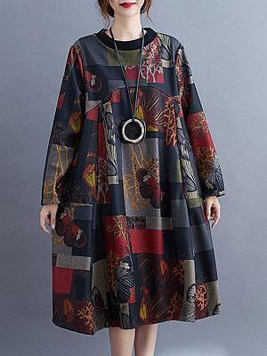 Berrylook Printed Round Neck Long Sleeve Dress clothing stores, shoppers stop, a line dress, floral dresses