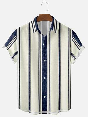 Mens Blue Striped Print Casual Summer Shirts