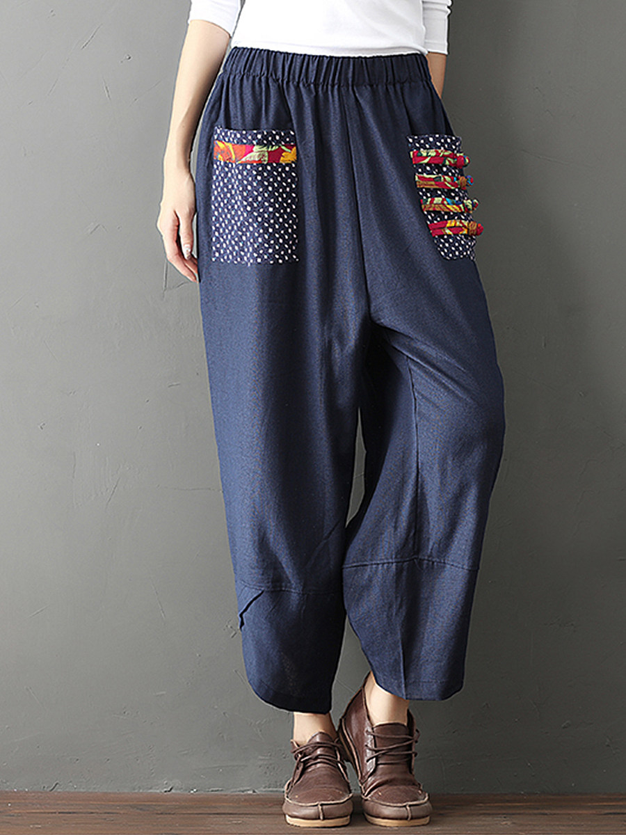 Retro patchwork cotton and linen wide-leg pants loose women's pants