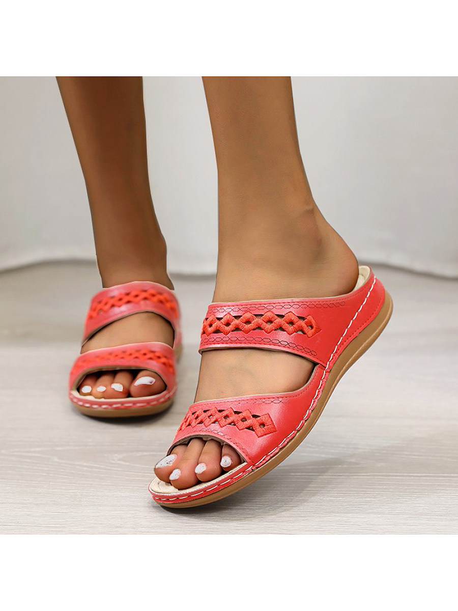 Women's comfortable casual cutout slippers