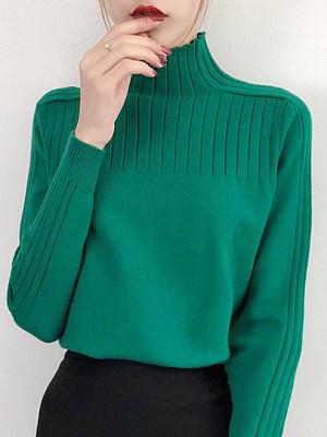 Short High Collar Elegant Plain Long Sleeve Knit Pullover
