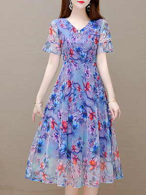 Elegant Printed V-neck Short Sleeve Dress