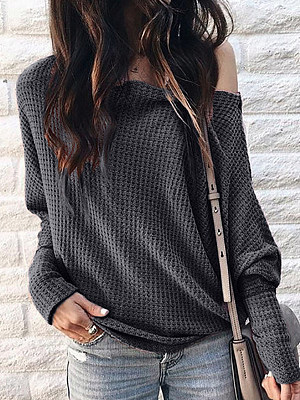 Buy Long sleeve T-shirts online stores, shoping from Berrylook Apparel & Accessories>Clothing>Shirts & Tops>T-Shirts, Berrylook One shoulder Color Plain Long Sleeve T-shirt is well made of cotton and it\\\'s features are: bust:116,length:72,sleeve length:74 (in inches). Find best Long sleeve T-shirts at Berrylook.com