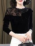 Image of Plush Gold Velvet Lace Bottoming Shirt