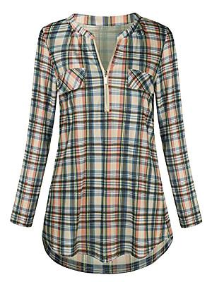 V Neck Zips Plaid Long Sleeve Blouse, 11480321