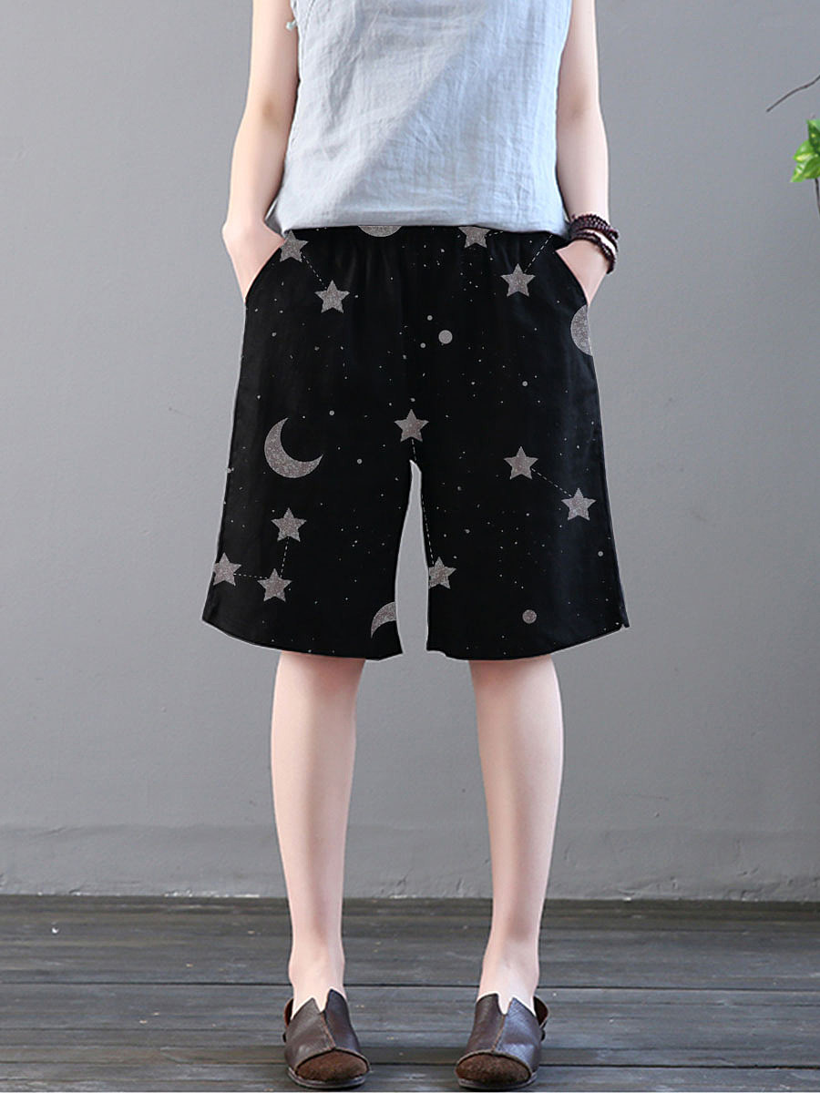 Fashion lace-up star and moon print trousers
