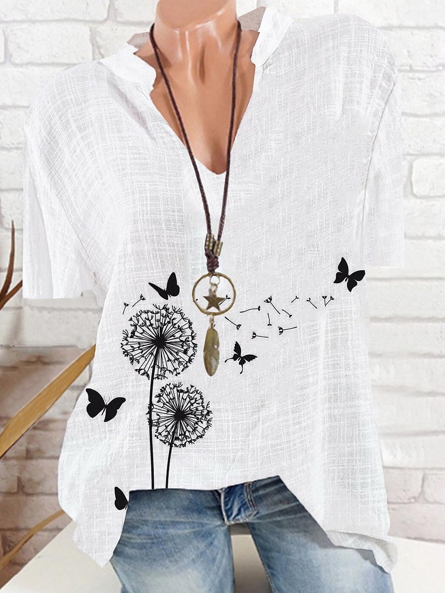 BerryLook V Neck Butterfly Print Short Sleeve Blouse
