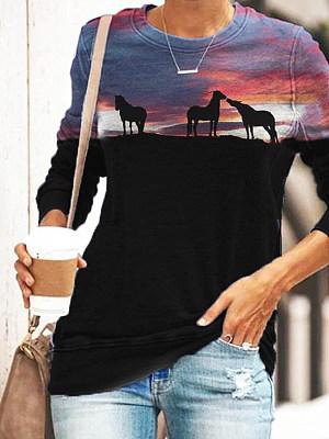 Round Neck Ladies Three Horses Silhouette Print Long Sleeve T-shirt