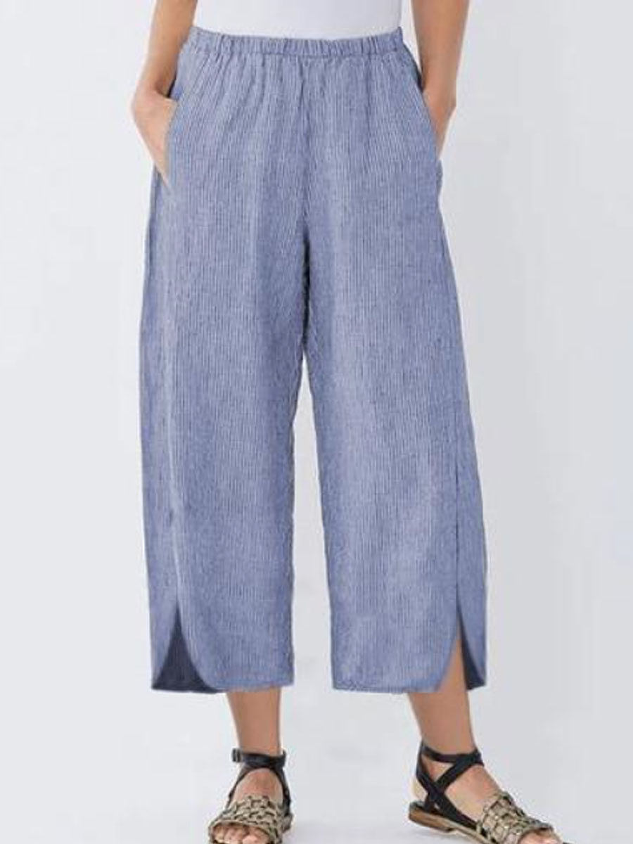 Casual Elasticated Striped Wide-Leg Pants