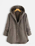 Image of Plaid jacket women's button solid color hooded jacket