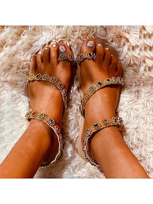 Bohemian flat sandals фото