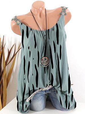 Round Neck Printed Sleeveless T-Shirt фото