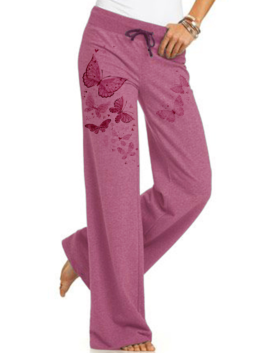 Casual printed lace-up yoga pants trousers