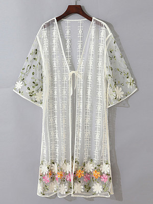 See-through Embroidery Short Sleeve Cardigan фото