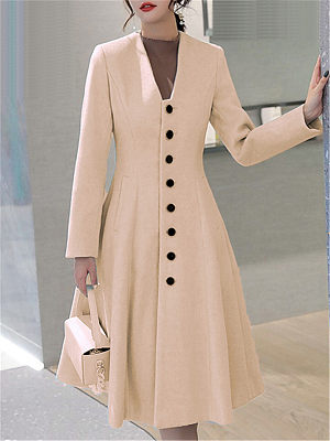 Fashion Women's Single Breasted Long Coat gender:female, season:autumn,winter,spring, texture:woolen, sleeve_length:long sleeve, style:japan and south korea, collar_type:v-neck, dress_occasion:daily, bust:112,clothing length:115,shoulder width:42,