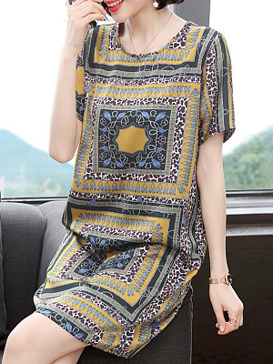 Round Neck Printed Shift Dress фото