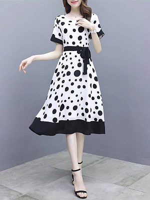 Polka dot dress new round slim long dress, 24460247