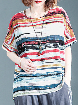 Round Neck Striped Short Sleeve Linen T-shirt, 11567225