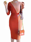 Image of Long-sleeved Color Block Round Neck Dress