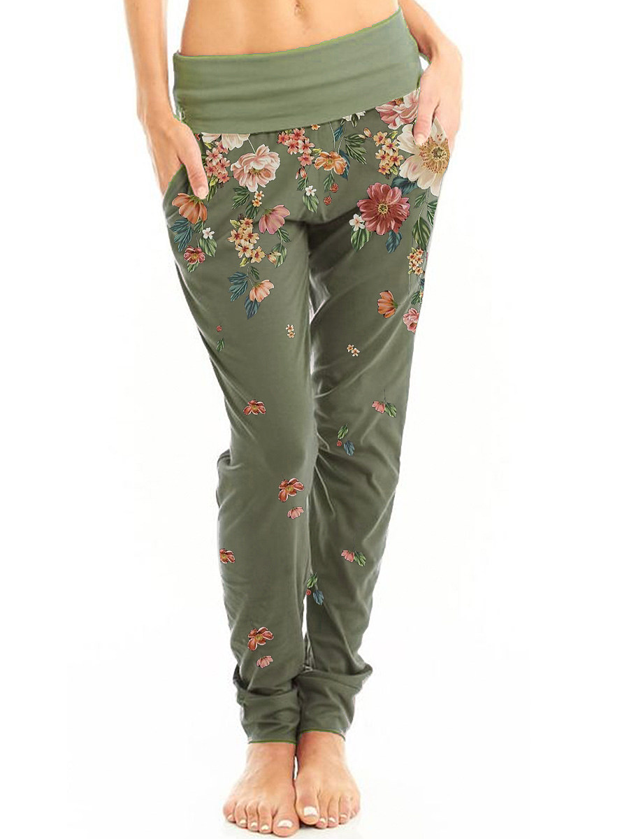 fashion high waist printed casual pants in Army Green