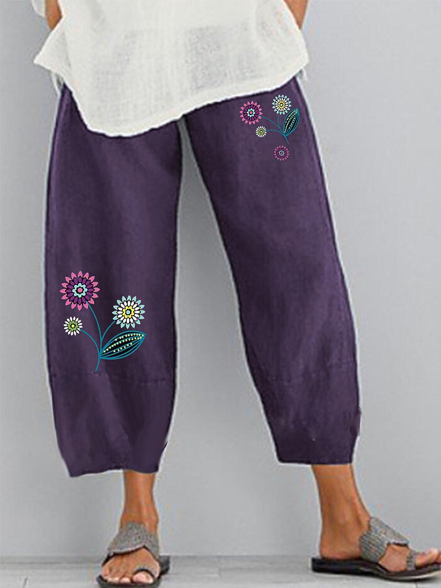 Asymmetric printed casual split wide-leg pants