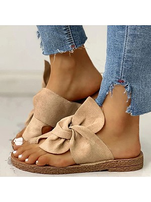 Flat non-slip bow sandals фото