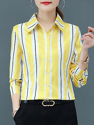 Turn Down Collar Striped Long Sleeve Blouse, 11421439