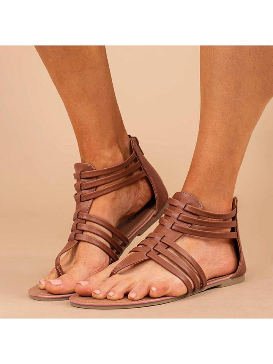 BerryLook Women's flat back zipper sandals