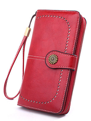 Cross-border spot new wallet female retro oil wax leather mobile phone bag long section hollow bills clip oil pickup bag Y886