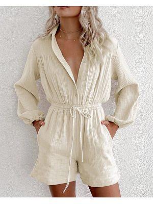 Women's casual drawstring pocket waistline single-breasted cardigan loose jumpsuit