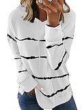 Image of Hat Collar Striped Long Sleeve T-shirt