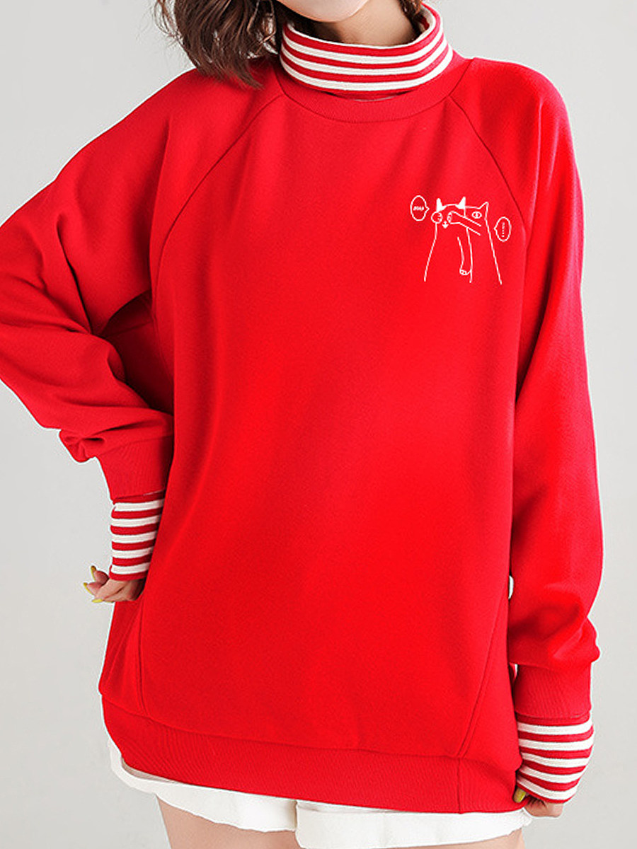 Fashion Turtleneck Pure Color Fake Two Pieces Sweatershirt - from $29.95