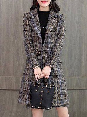 Women's Fashion Plaid Midi Coat gender:female, season:autumn,winter,spring, collar:lapel collar, texture:cotton blend, pattern_type:grid pattern, sleeve_length:long sleeve, sleeve_type:regular sleeve, style:japan and south korea, collar_type:suit lapel collar, dress_occasion:daily, bust:110,clothing length:86,shoulder width:42,