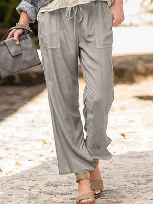 Berrylook coupon: Solid Color Casual Linen Pocket Pants