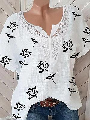 V Neck Patchwork Print Short Sleeve Blouse, 24440490