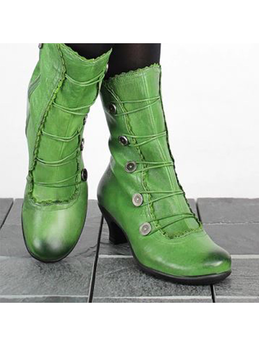 Retro shaped and low boots with large size women's boots
