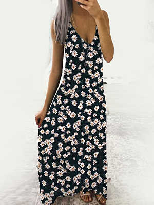 V-Neck Patch Pocket Floral Printed Maxi Dress фото