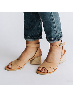 Berrylook Fashion Women Belt Buckle Thick Heel Sandals clothes shopping near me, online, Solid Sandals,