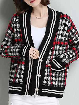V Neck Casual Striped Long Sleeve Knit Cardigan, 10307674