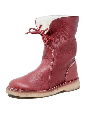 BERRYLOOK Round Toe Plus Velvet Lace-up Flat Casual Shoes Short Boots Snow Boots