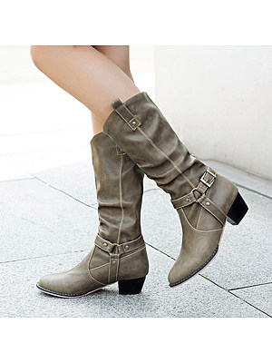 European and American thick heel boots фото