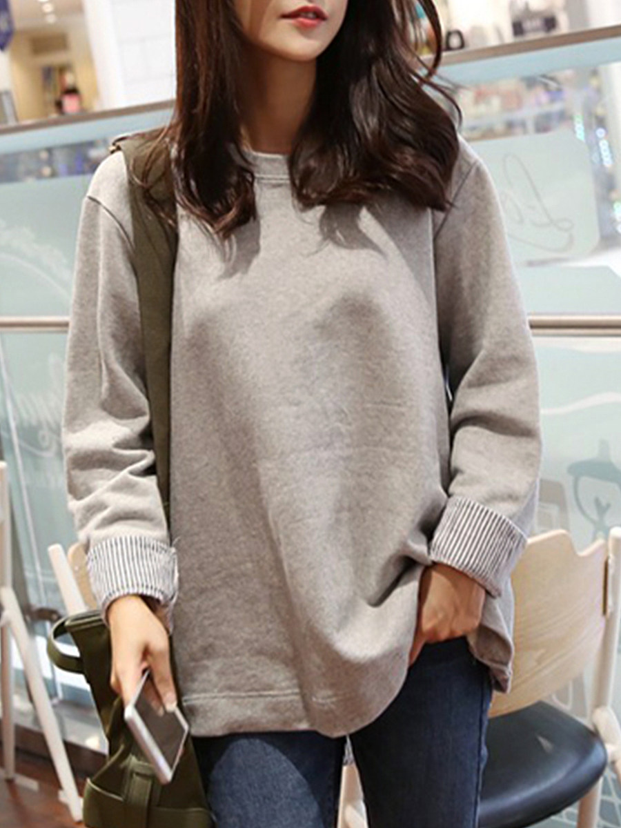 Casual Round Neck Loose Solid Color Sweatshirt - from $19.95