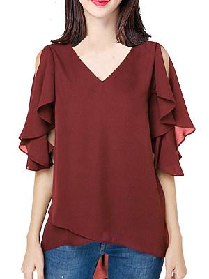 V Neck Plain Short Sleeve Blouse, 11571327