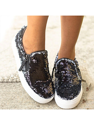 Flat Glitter Casual Zip Sneakers, 11176038